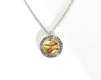Softball Necklace, Tiny Softball, Gold Softball, Affirmation Ring Necklace, Sport Necklace, Team Jewelry, Softball Jewelry, Yellow Softball