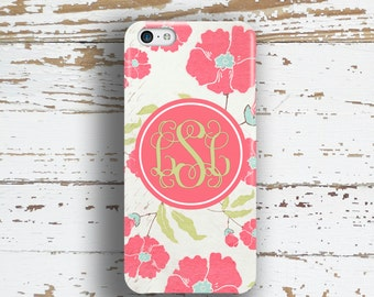Personalized Iphone 5s case, Floral Iphone 6 case, Women's Iphone 6s case, Pretty Iphone 5c case, Hostess Gift, Coral white poppies  (9654)