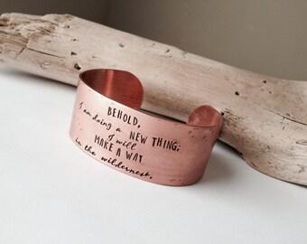 Christian Jewelry Religious Inspired Faith Bracelet Custom Lyrics Quote Cuff Wide Copper Cuff