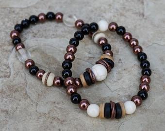 Bohemian Bracelets, Boho Bracelet Set, Beaded Bracelet Set, Layering Bracelets, Black/Copper/Ivory, Rustic Bracelet Set, Unique Boho Jewelry