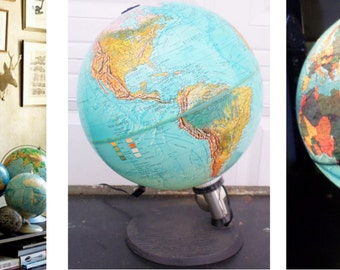 "Vintage, Scan Globe A/S. Edition 1985 GB. Made in Denmark, 12"", Illuminated, World, Globe,  World Globe, Blue, Collectibles, Lighted Globe"