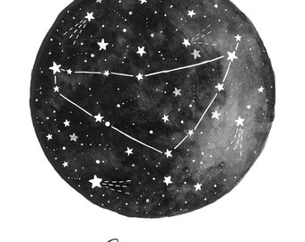 Capricorn Constellation Illustration - Vertical