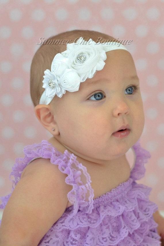 White Baptism Headband Infant Headband Newborn Headband