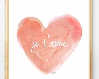 Coral Nursery Decor, Je t'aime, Nursery Wall Art, Watercolor Print, Coral Nursery Art, Peach Nursery, Coral Baby Nursery, Love Quote