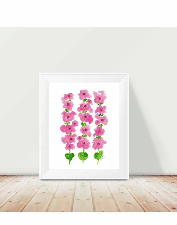 Hollyhocks Print in Pink and Green, 11x14