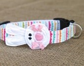 Easter Bunny Dog Collar - White Bunny on Pastel Collar