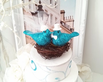 BIG SALE NEW 2016! wedding nest birds cake topper blue glitters birds