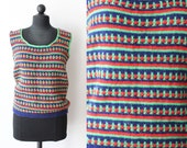 Vintage Shirt / Crochet Top / Sleeveless / Sweater Vest / Knitted / Womens Clothing / Green Blue Red / 1970s 70s / Handmade