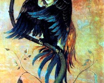"""Art by Viktor Vasnetsov (1897-98) - """"Gamaun,"""" the prophetic bird.  - Vintage Art, Story Book Art, Family Art, Children's Art"""