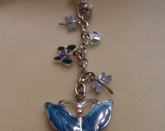 Blue Metal Butterfly and Dragonfly Keychain