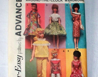"1962 Advance Barbie Pattern - Partially Cut Complete - Group D - One Size - 11 1/2"" Doll"