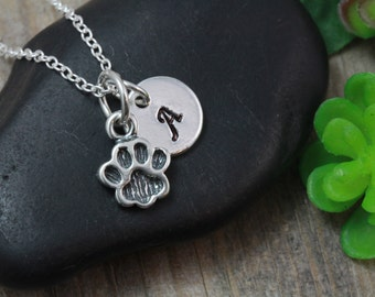 Sterling silver Dog Paw Necklace, Dog Paw Jewelery, Choose Sterling silver Initial, Choose Sterling silver chain.