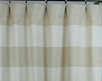 Oatmeal Beige Natural Linen Cabana Horizontal Stripe Curtains - Rod Pocket - 84 96 108 or 120 Long by 24 or 50 Wide Optional Blackout Lining