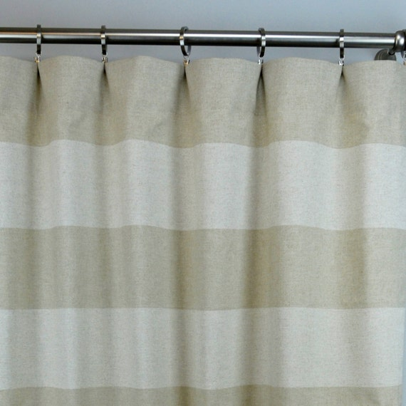 Linen Stripe Kitchen Curtains: Oatmeal Beige Natural Linen Cabana Horizontal Stripe Curtains