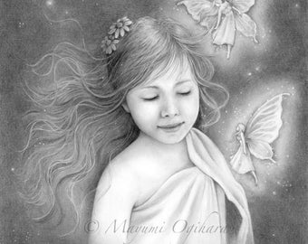 I do believe in fairies - 11x14 original pencil drawing - Free shipping