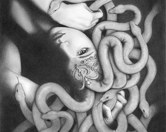 Medusa - 11x14 original pencil drawing - Free shipping