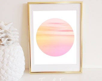 Sunset Print, Circle, Instant Download, Pink Wall Art, Yellow Decor, Sunrise Artwork, baby, 8x10, Office Gallery Wall Decor, Geometric Shape