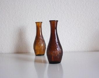 Vintage glass bottles / small glass vase / brown glass / beach wedding / glass vases / antique bottle / vintage wedding
