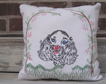 Vintage  Dog Embroidery Pillow with Quilt Backing