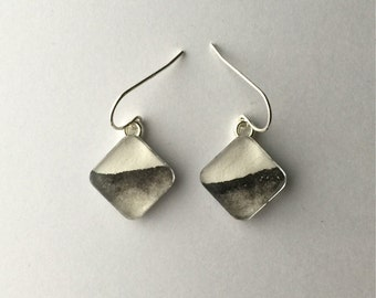 SALE - Black and White Horizons - Wearable Artwork Earrings  - Original Watercolor Paintings - One of a Kind - Sterling Silver