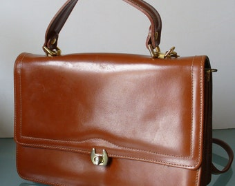 Vintage Accordian Style Cognac  Bag Made in Italy