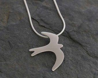Silver Swallow Pendant    PMC Fine Silver Clay Bird Necklace     Handmade Recycled Silver Jewellery Swift