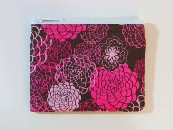 Coin Purse - Pink Flowers - Coin Bag - Pouch - Accessory - Gift