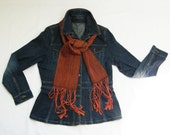 Cedar Red Silk Scarf, Auburn Red Scarf with Black Tencel, Rust Scarf Chestnut, Hand Woven Scarf Handwoven, Sienna Scarf Brown, Bombyx Silk