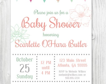 printable pink and mint baby girl shower invitation