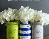 Painted and Distressed Mason Jars – Solids & Stripes – Customized Color Combinations for Wedding Showers, Baby Showers, Home Decor