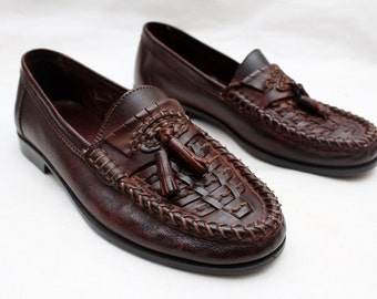 "Rare 80's Vintage ""ALBANES"" Brown Leather Tassel Italian Loafers Sz:  8 - EUR 41 (Men's Exclusive)"