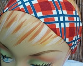 Plaid Headband - Blue Orange Red & White - 100% Cotton Fabric