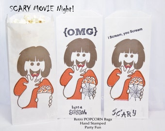 Scary Movie Night Popcorn Bags 15 Hand Stamped Retro Girl Popcorn Bags, NEW Party Favor Bags, Movie Night Party, Concessions, Food, Carnival