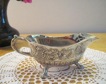 Vintage Rococo Silver Plated sauce boat / gravy jug - claw feet and flowers