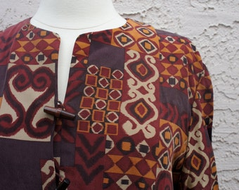Vintage Tribal Print Silk Blouse