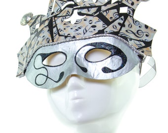 MUSICA - Sliver and Black Venetian Music Styled Mask