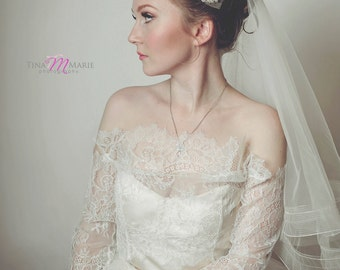 Tulle Bridal Drop Veil with Horsehair Trim--Sleek and Modern in white, ivory, champagne, blush or black