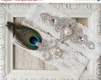 Customizable Garter - Vintage Peacock Garter Set w/ Peacock Feather, Rhinestones and Pearls.  Crystal Garter Set