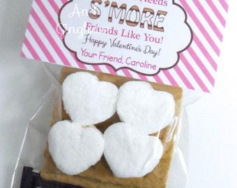 Valentine Treat Bag Topper-Valentine Smore Treat Bag Topper-Printable Kids Valentine-S'more Treat Bag Topper-Personalized Valentine Smore