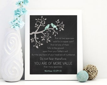 Matthew 10:29-31 You Are More Value / Printable Bible Scripture Wall Art Christian Home Decor / Christian Print / DIGITAL Instant Download