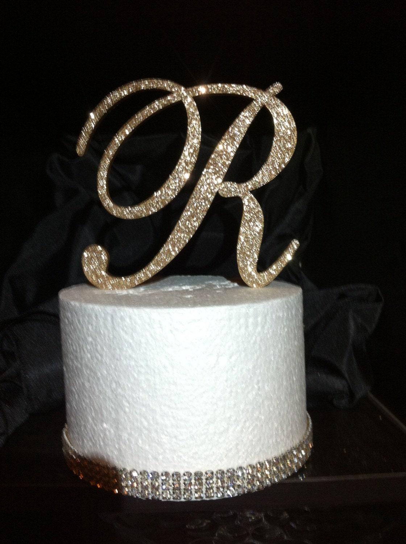Free Shipping In Us Glitter Cake Topper Monogram Cake