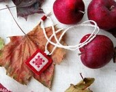 Red and white Hand embroidered pendant with red suede Ukrainian ethnic ornament
