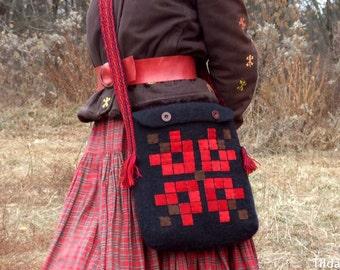 Black hand-felted shoulder bag with applications of red suede, Ukrainian folk style