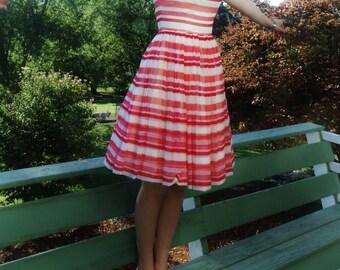 1950s Dress - Striped Silk Crepe de Chine Party Dress