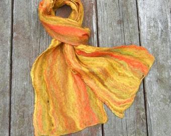 Fiesta Cobweb Scarf - wet felted functional art - 100% merino wool - 63in x 9in - item 12-4007