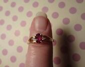 14k Gold Ruby & Diamond Ring Ruby Red Gemstone Gorgeous size 6 1/4 Anniversary Birthday Yellow Gold Ring Wedding Day BFF Gift Box