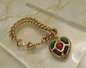 "Authentic ""Yves Saint Laurent YSL by Robert Goossens"" Vintage Rare Chain Bracelet with Heart Charm"