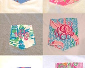 Long Sleeve Monogrammed Pocket Tee with Lilly Pulitzer Fabric