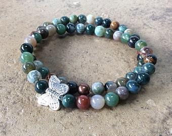 Butterfly bracelet, bracelet set, bracelet stack, silver butterfly, multicolor gemstone bracelets, butterfly jewelry, stacking, stretch