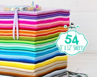 """100% Wool Felt Sheets - 54 Sheets of 8"""" X 12"""" - Merino Wool Felt Sheets - 54 Wool Felt Sheets - Pure Wool Felt - Choose your Colors"""